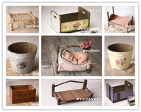 Dvotinst Baby Photography Props Wooden Bed Tub Case Fotografia Accessory Infant Toddler Studio Shooting Photo Props Shower Gift