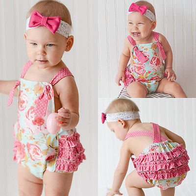 95ac7ec0fab Floral Baby Halter Romper Newborn Infant Baby Girls Clothes Summer  Sleeveless Ruffles Jumpsuit One Pieces Outfits Sunsuit 0 18M-in Rompers  from Mother ...