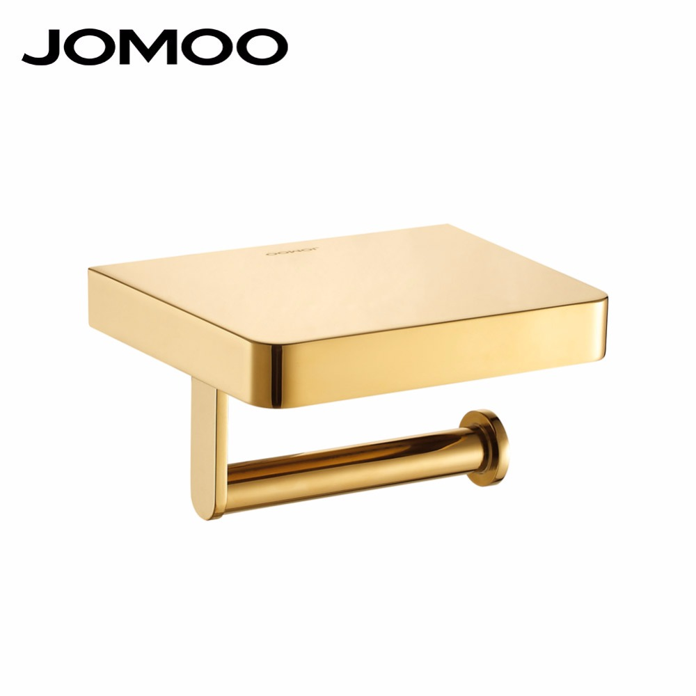 JOMOO Bathroom Toilet Paper Holder Gold Color Roll Tissue Holder Wall Mounted Papel Higienico Box Bathroom Accessories kitbun6101bwk390 value kit toilet tissue 9quot diameter bun6101 and boardwalk disposable apron bwk390