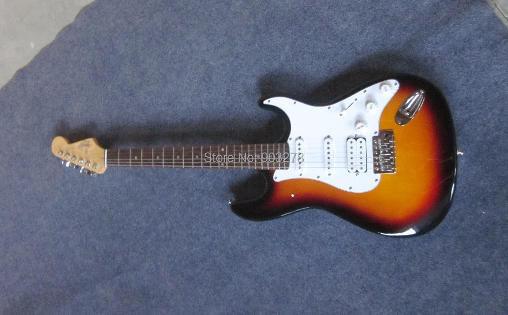 New Sunburst ST Electric Guitar free shipping s s h pickups