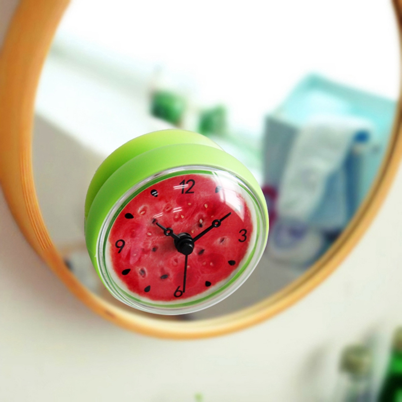 Bathroom Kitchen Waterproof Shower Wall mini watermel Clock Watch Suction Cup Battery Op ...