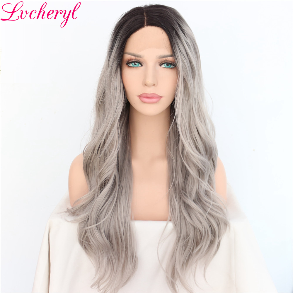 Lvcheryl Hand Tied Ombre Grey Trendy Natural Long Wavy Synthetic Lace Front Wigs Heat Resistant Hair
