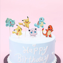 Birthday Party Events Decorate Pokemon Go Theme Cupcake Toppers with Sticks Baby Shower Kids Boys Favors Cake Topper 24pcs/lot
