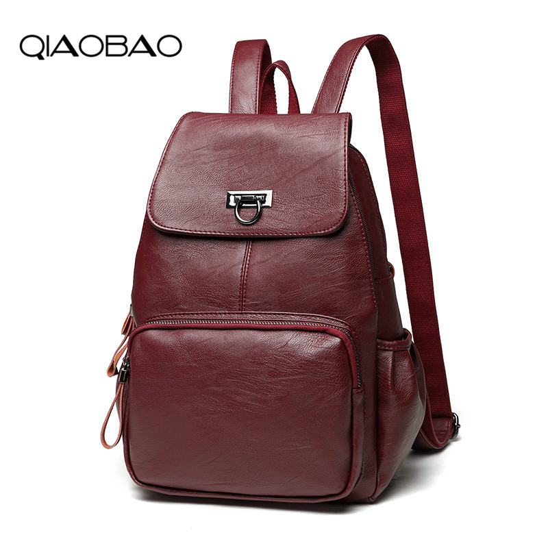 QIAOBAO New Backpack Womens Casual Cowhide Leather Womens Bag Fashion Portable Womens Travel Student BackpackQIAOBAO New Backpack Womens Casual Cowhide Leather Womens Bag Fashion Portable Womens Travel Student Backpack