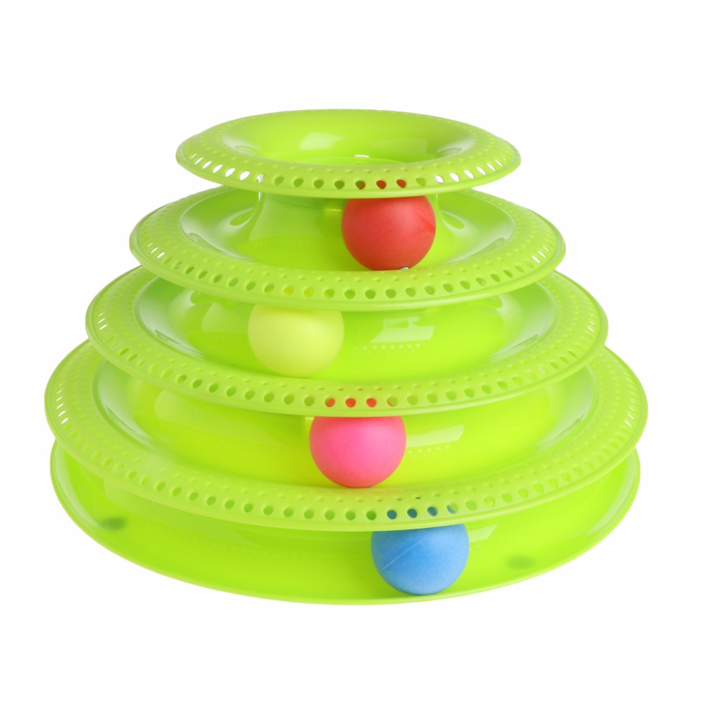 Cat Toys Four Layers Plate Disk 4 Balls Interactive Amusement Pet Kitty Crazy Balls Funny Toy Pet Supplies Green/Pink C42