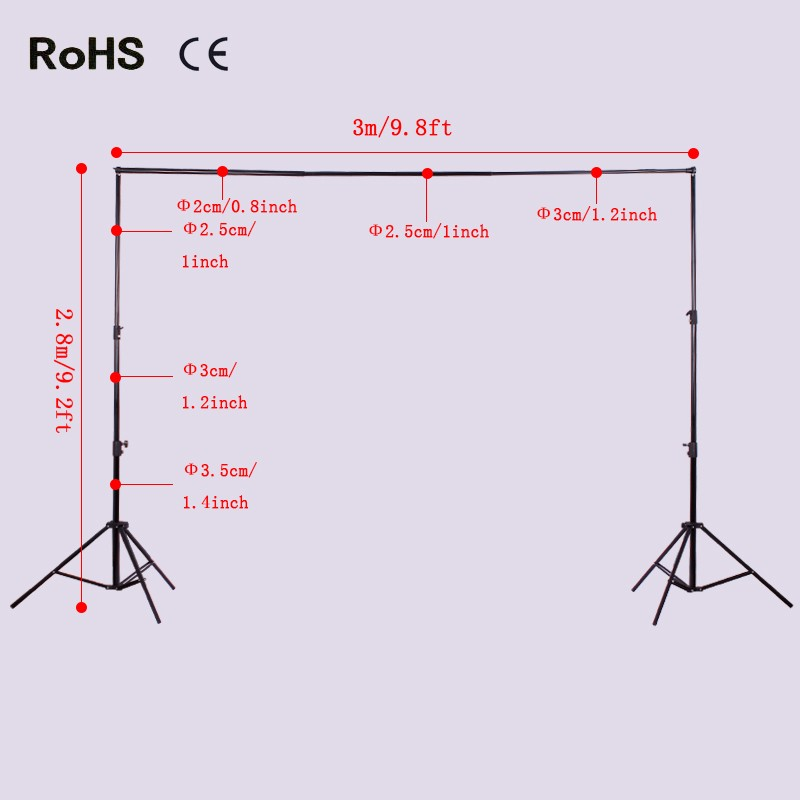 2.8m*3m/9.2ft*9.8ft Adjustable Background Support Stand Photo Backdrop Crossbar Kit Photography 2 8m x 3m pro adjustable background support stand photo backdrop crossbar kit photography stand 3 clips for photo studio