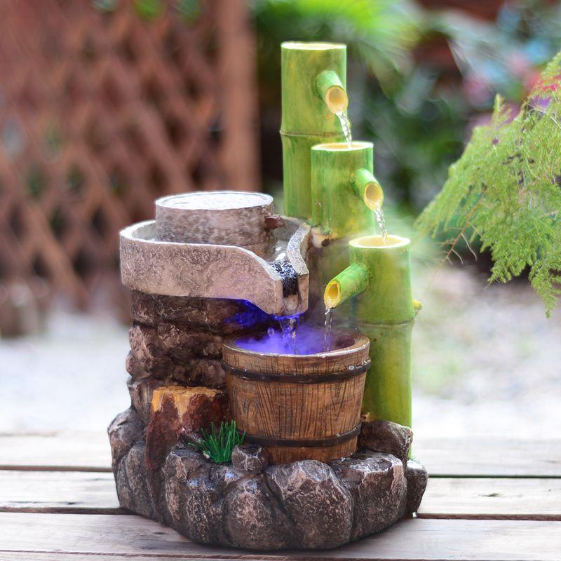Résine artisanat Feng Shui fontaine d'eau décoration de la maison ornements de jardin cadeaux de vacances pierre artificielle bambou fontaine