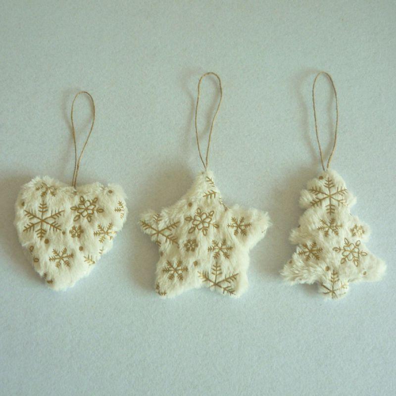 Mignon blanc & or coeur & étoile & arbre pendentifs de noël pendentif ornements pour la maison de noël fête décorations fournitures enfants cadeau