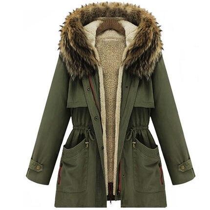 2015 Winter Womens Parka Casual Outwear Military Hooded Coat Winter Jacket Women Fur Coats Women Overcoat Woman Clothes H4470