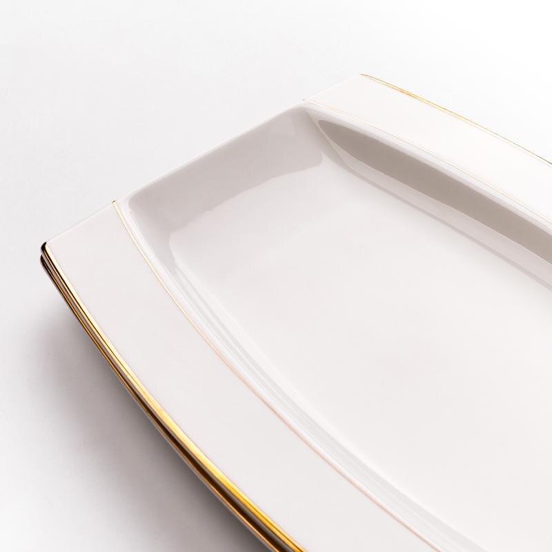 Assiette à poisson céramique créative | Porcelaine jante dorée longue assiette à poisson, plats de nourriture occidentale vaisselle pour la maison, jardin pâtisserie Dessert grandes soucoupes 12 pouces - 4