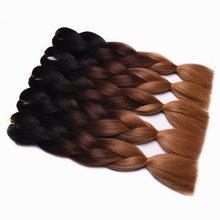 Feilimei Blonde Jumbo Braiding Hair Extensions 24″(60cm) 100g/pc Synthetic Three Toned Ombre Crochet Braids Hair Bulk Bundles