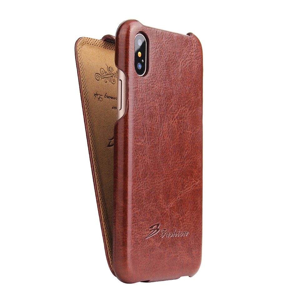 Genuine Leather Case for Apple iPhone XS XR XS Max Vertical Flip Fundas Top Quality Cover Coque for A1920 A1984 A1921 in Flip Cases from Cellphones Telecommunications