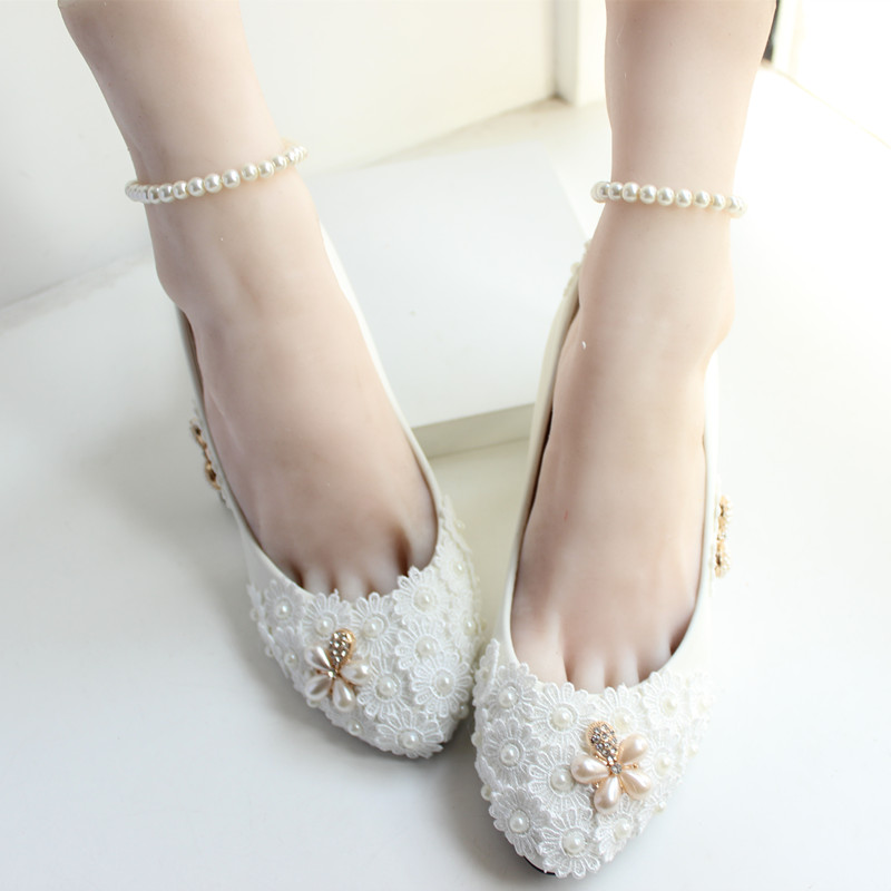 Handmade wedding shoes white bridal bridesmaid shoes bandage font b women s b font shoes pumps