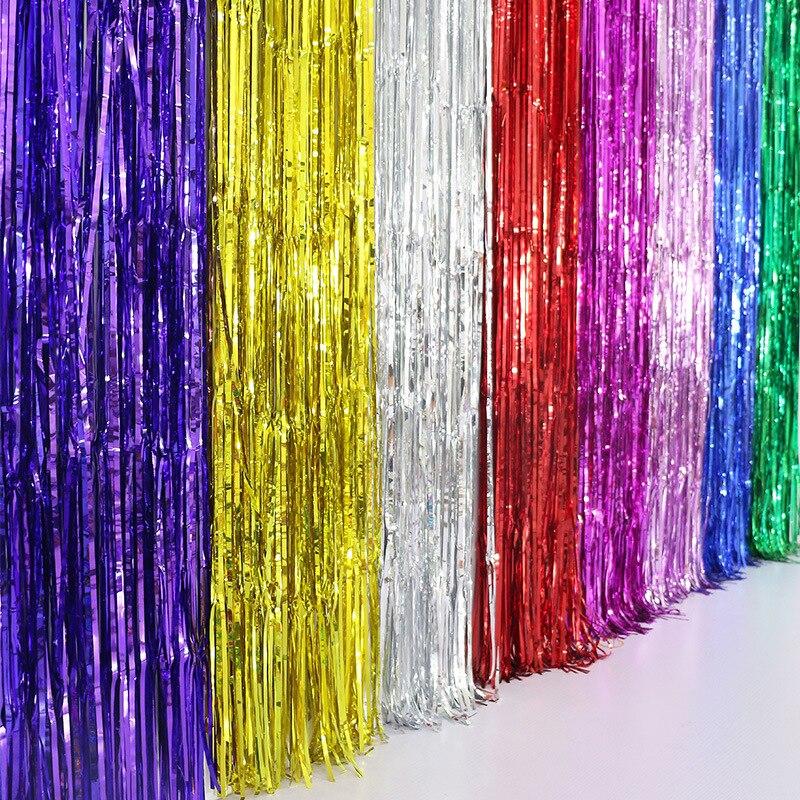 10PCS shine Gold Silver 1Mx2M Metallic Tinsel Curtain Foil Room ...
