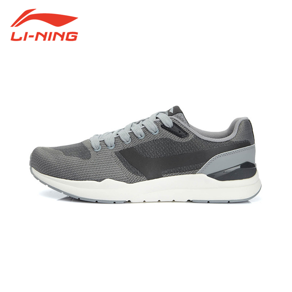 Li-Ning Original Brand Men's Athletic Running Shoes Black Grey Sneakers Men US 8.5 Clearance ellesse toppo overhead hoody athletic grey marl