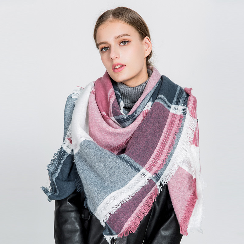 OuMo brand Long section Cashmere scarf women s Bib Colorblock plaid hollowed square scarf Female shawl large size 140 140cm in Women 39 s Scarves from Apparel Accessories