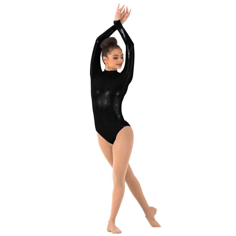 Ensnovo Phụ Nữ Phù Hợp Với Bóng Ba Lê Dancewear Đen Bodysuits cho Phụ Nữ Dài Tay Jumpsuit Chặt Lycra Suit Shiny Kim Unitard