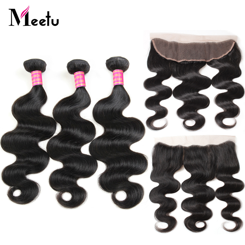 Meetu Peruvian Body Wave Bundles with Free Part Frontal 100% Human Hair Ear to Ear Lace Frontal Closure with Bundles Non Remy
