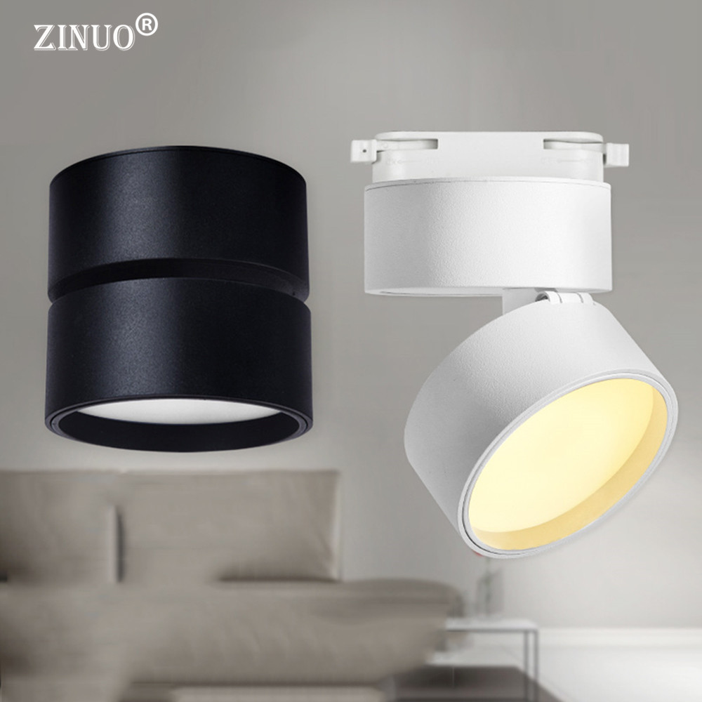 ZINUO Surface Mounted 12W LED Spot Light 3W 5W 7W Ceiling Lamps White Black Downlights AC85-265V Tracking Lamps Track Rail light