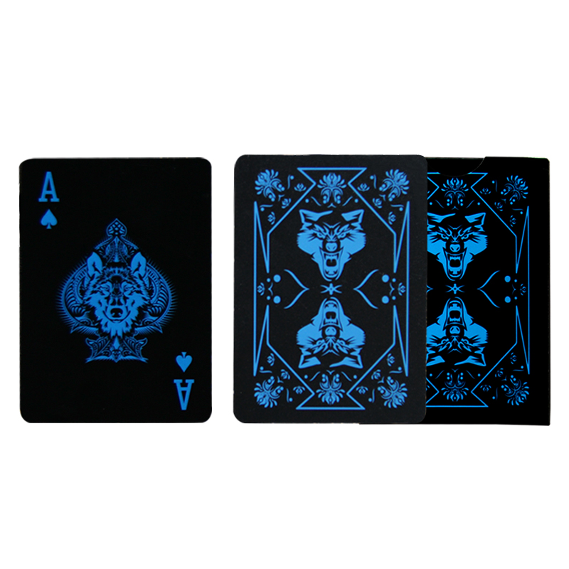 2018 New design WOLF Black Plastic Waterproof Poker Creative Close-up Magic Props Flower Cut playing cards TEXAS POKER card
