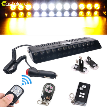 цена на Castaleca Vehicle 12 led Police Strobe Lights Three Remote Control Options Super Bright Emergency Warning Flashing Car Light