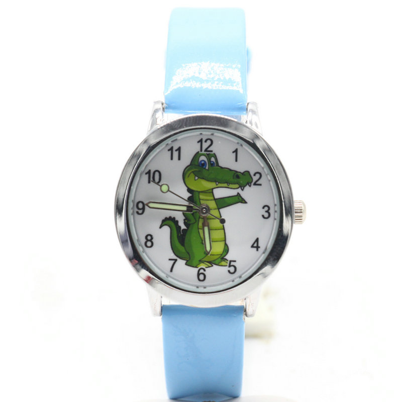 купить free shipping kids lovely 3D Cartoon crocodile Design Analog Wrist Watch Children high quality gift clock онлайн