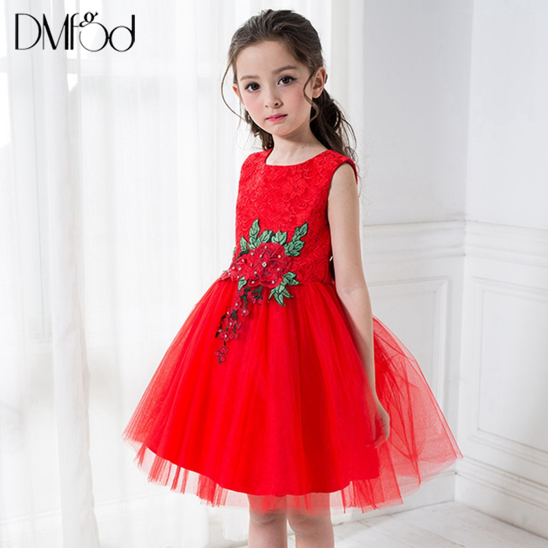 Fashion Girls Dress 2018 Summer Princess Birthday Party Evening Formal Dresses For Lace Flower Kids Little Girl Dresses 3-13Y girls short in front long in back purple flower girl dress summer 2017 girl formal dress kids party princess custume skd014283