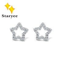 Certificado 0.24CT 1 Par de Diamantes Simulados Marca 18 K Oro Blanco Sólido Estrella Stud Pendientes Para Las Mujeres de la Fiesta de Cumpleaños de Compromiso regalo