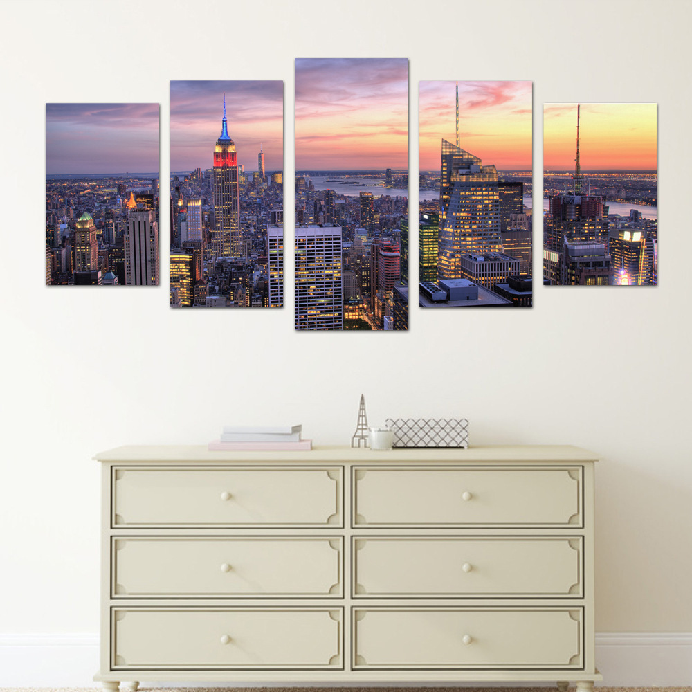 funlife Manhattan 5 pcs Wall Poster Self-adhesive Living Room Decorative Accessories for Sofa Background Wall Decals