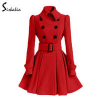 Siskakia A line Skirt style Elegant Vintage Trench coat Women solid slim fit Wool & Blends medium long overcoat Belt buckle 2017