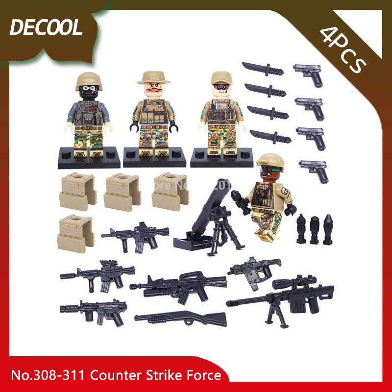 Doinbby Store Decool 308-311 4Pcs S.W.A.T Series Counter Strike Force Model Building Blocks Bricks Children For Toys Gift