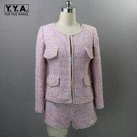 Одежда высшего качества взлетно посадочной полосы для женщин твид комплект из двух предметов деловой костюм для стройных дамы розовый Twilled