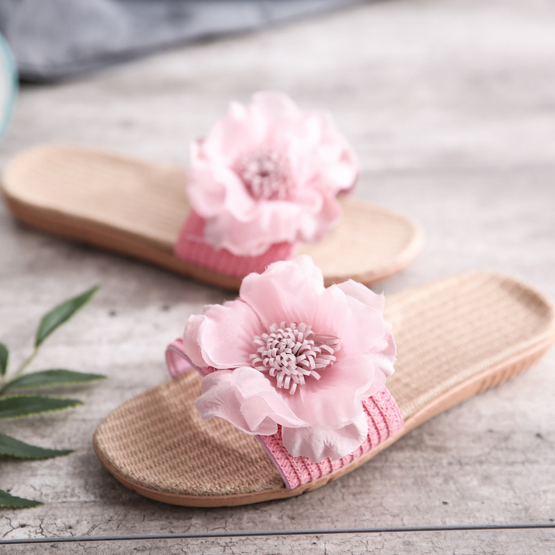 Summer Anti-skid Women's Home Slippers Shoes With Flowers Soft-soled Breathable Sweat-absorbing Indoor Linen Slippers Ultralight