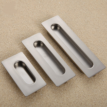 Silver Zinc Alloy Concealed Handle European Drawer Hardware Fittings Furniture Cabinet Pulls Square Shake Hands