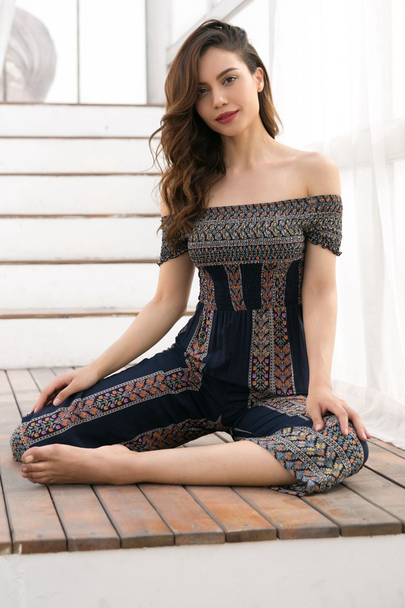 Playsuit Jumpsuit Bodysuit Women Europe and the United States travel holiday print sexy word shoulder women jumpsuit long in Jumpsuits from Women 39 s Clothing