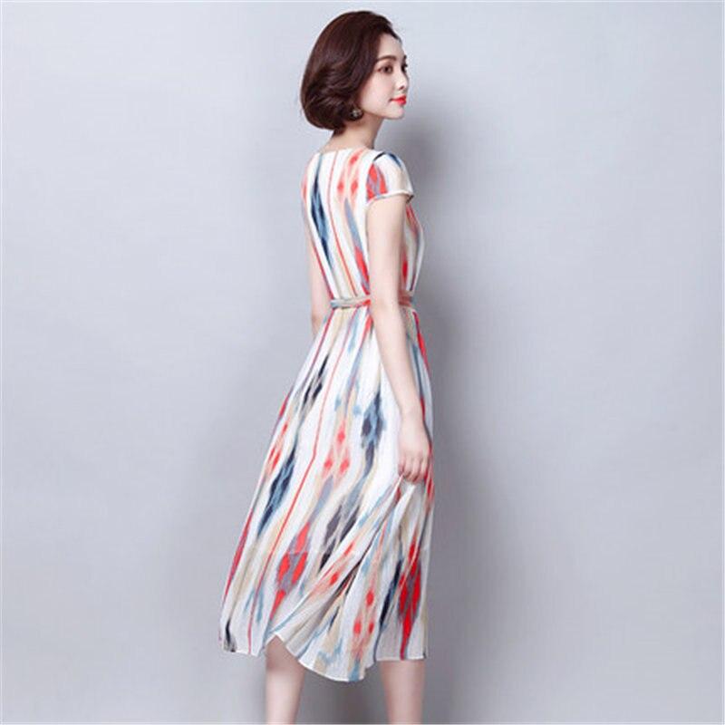 Elegant Middle aged Women Beach Boho Maxi Dress 2019 Summer Chiffon Print Floral Long Sexy Short Sleeve Top Vestidos Female N610