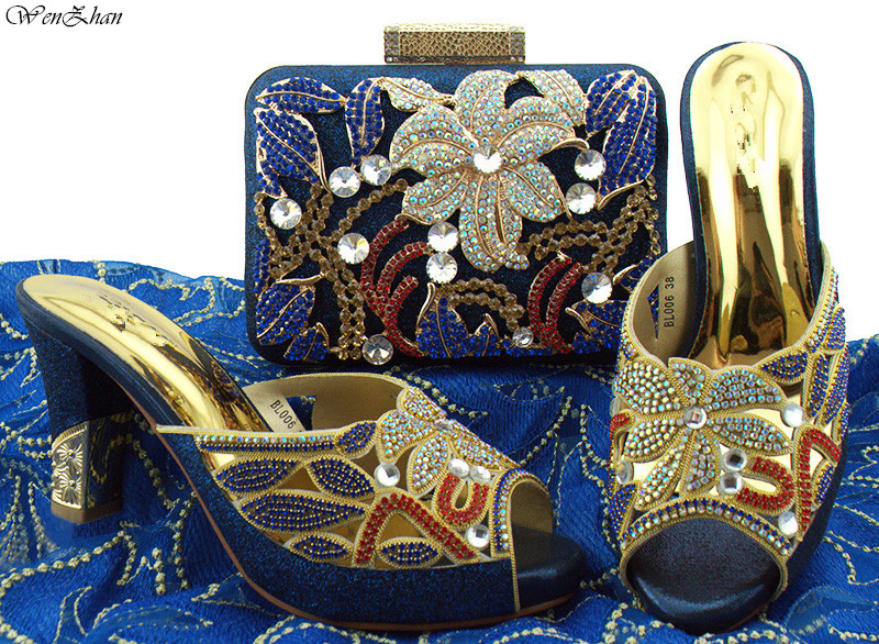 Latest Party High Heel Shoes And Bag Sets Flower Rhinestone Italian Style Royabl Blue Top Quality Shoes And Bags Set 8cm B85-15 g41 wonderful pattern european ladies shoes and bags sets with stone high quality women high heel with bag sets free shipping