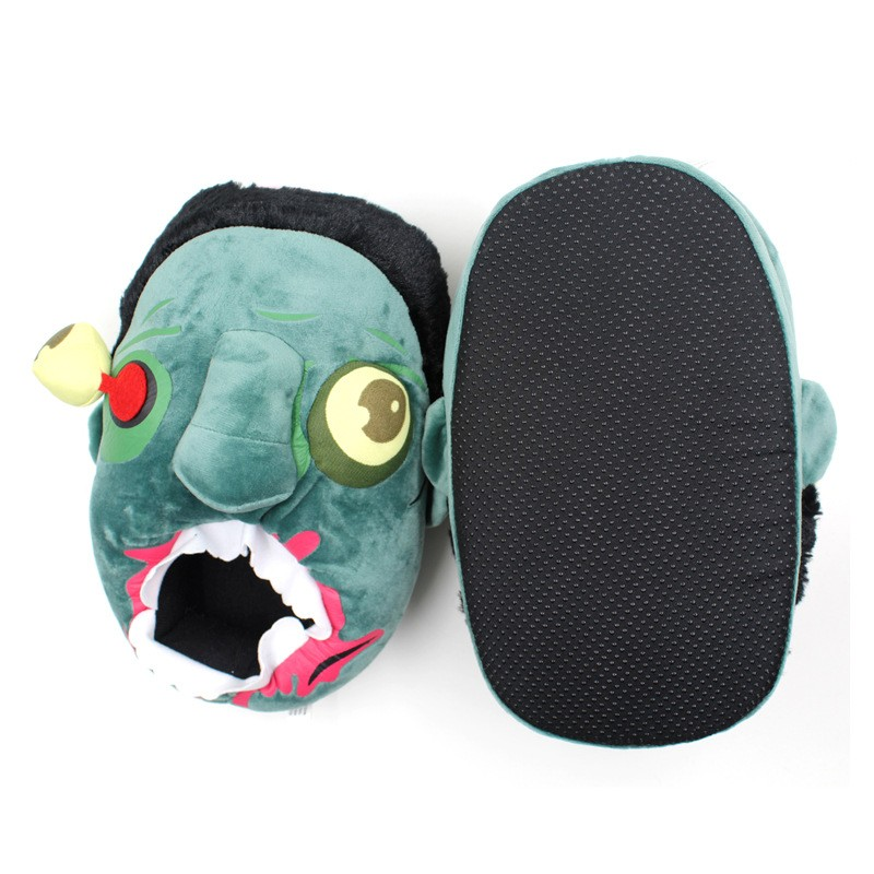 Anime The Walking Dead Zombie Figure Plush Slippers Cosplay Animals Creative Funny Home Soft Shoes PP Cotton with Heel Pantufas (3)