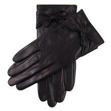 Genuine Leather Woman Gloves Winter Plus Velvet Thicken Keep Warm Windproof Driving Touchscreen Sheepskin L17030C