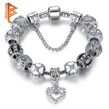 Pulseira серебряное хрустальные ьные бусины сердце подвески браслеты fit браслет изделия