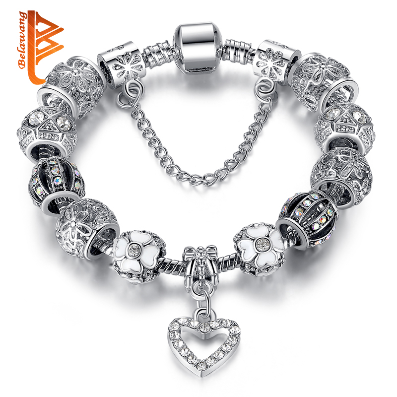 Fashion Silver Heart Charms font b Bracelet b font Bangle for Women DIY 925 Crystal Beads