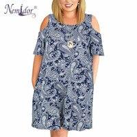 Nemidor Women Casual O neck Off The Shoulder Midi Plus Size Summer Dress Short Sleeve Loose Vintage Dress With Pockets