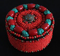 TJB907 Tibetan hand Sewed Red jewelry box Simulent Turquoise Coral Beaded Case Free ship