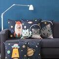 Наволочка для подушки из льна  наволочка для милой кошки  для путешествий в пространстве  ракета  НЛО  домашний декоративный наволочка 45х45см...