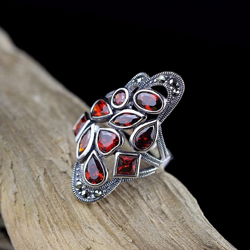 цена на L&P 2018 Natural Garnet 925 Sterling Silver Ring For Women,Handmade Vintage 925 Irregular High Quality Silver Ring