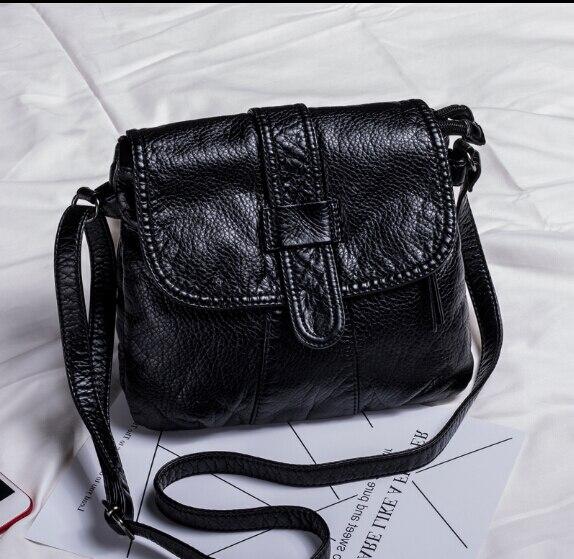 Fashion Women's Waterwashed Leather Small Handbag  Casual Shoulder Messenger Small Bag Female Handbag  Black Color M-9*8/kjui