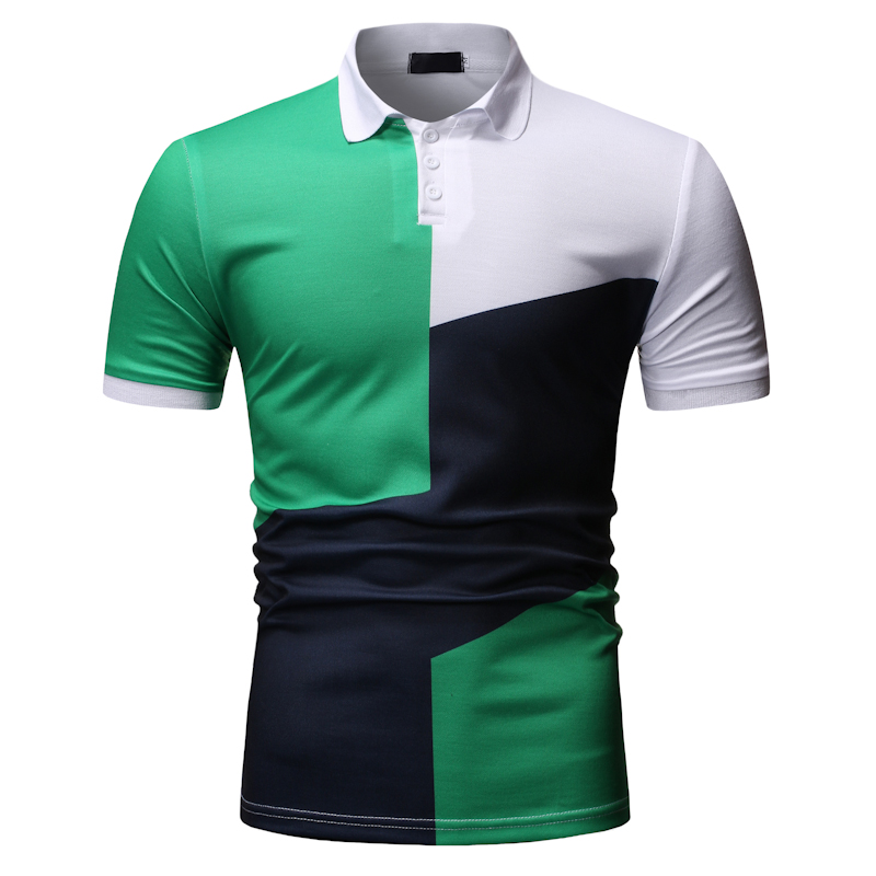New Men   Polo   Shirt Summer Business Casual Contrast Color Top Classic Contrast Color Printed   Polo   Shirt