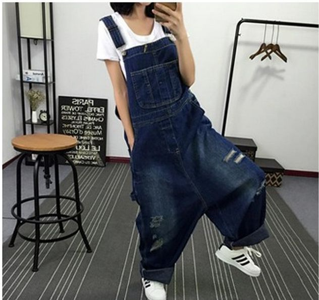 Free shipping ripped hole Ladies Overalls Big Crotch Pants Denim Jeans Loose Jumpsuits Rompers Hip-Hop Pants drop crotch jean