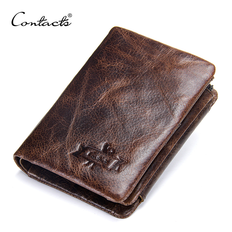 CONTACT'S Men Wallets Genuine Leather Vintage Short Wallet Man Slim Card Holder Luxury Brand Male Small Coin Purse Portefeuille