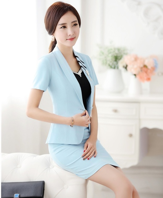 Plus Size 4XL 2016 Summer Short Sleeve Professional Business Women Suits Jackets And Skirt Female Outfits Blazers Work Sets Blue